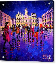 Lights And Colors In Terreaux Square Acrylic Print