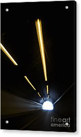 Lights Inside A Highway Tunnel Acrylic Print by Sami Sarkis