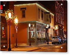 Lights Lowell Ma At Christmas Acrylic Print by Mary McAvoy