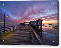 Lights On The Dock Acrylic Print by Debra and Dave Vanderlaan