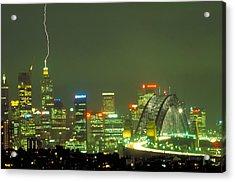 Lihtning On Sydney Acrylic Print by Sandro Rossi