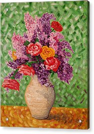 Lilac And Roses Acrylic Print