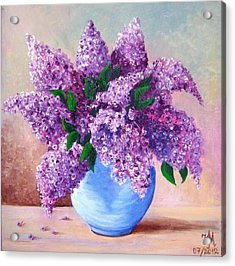 Acrylic Print featuring the painting Lilac by Nina Mitkova