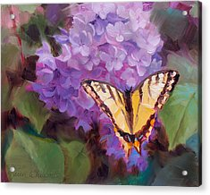 Lilacs And Swallowtail Butterfly Acrylic Print