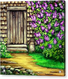 Lilacs By The Barn Acrylic Print by Sandra Estes