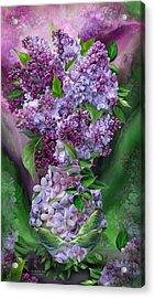 Lilacs In Lilac Vase Acrylic Print by Carol Cavalaris