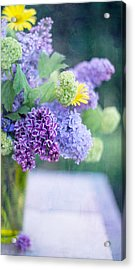 Lilacs On The Table Acrylic Print by Rebecca Cozart