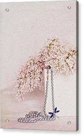 Lilacs Pearls And A Bit Of Sparkle Acrylic Print by Rebecca Cozart