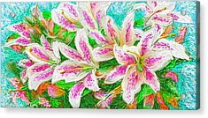 Acrylic Print featuring the painting Lilies  by Hidden  Mountain