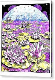 Acrylic Print featuring the drawing Lilies Of The Lake by Seth Weaver