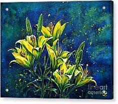 Lilies Acrylic Print by Zaira Dzhaubaeva