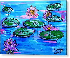 Lily Pond Blues Acrylic Print by Ecinja Art Works