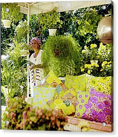 Lilly Pulitzer In Her Garden Acrylic Print