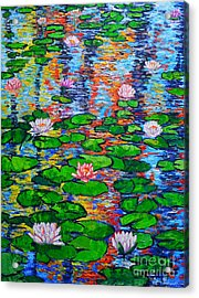 Lily Pond Colorful Reflections Acrylic Print