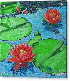 Lily Pond Impression Acrylic Print by Ana Maria Edulescu