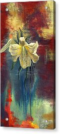 lily with Abstraction Acrylic Print by Alfred Ng