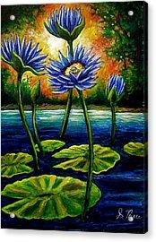 Lilys And Lotus Acrylic Print by Sebastian Pierre