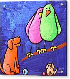 Limb Birds - Big Dog Little Dog Acrylic Print by Linda Eversole