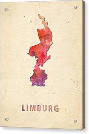 Limburg Watercolour Map Acrylic Print by Big City Artwork