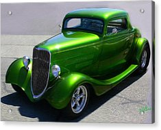 Acrylic Print featuring the digital art Lime Green Auto  by Mary M Collins