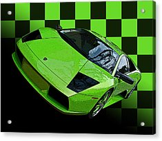 Lime Green Lamborghini Murcielago With Checkerboard Acrylic Print by Samuel Sheats