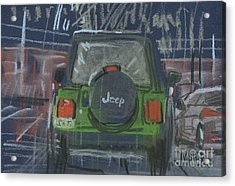 Acrylic Print featuring the painting Lime Jeep by Donald Maier