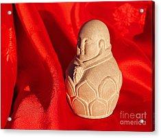 Limestone Buddha On Red Silk Acrylic Print by Anna Lisa Yoder