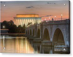 Lincoln Memorial And Arlington Memorial Bridge At Dawn I Acrylic Print