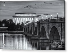 Lincoln Memorial And Arlington Memorial Bridge At Dawn II Acrylic Print