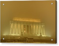 Lincoln Memorial In The Fog Acrylic Print by Metro DC Photography