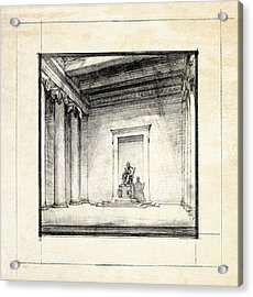Lincoln Memorial Sketch IIi Acrylic Print by Gary Bodnar