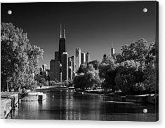 Lincoln Park Lagoon Chicago B W Acrylic Print by Steve Gadomski