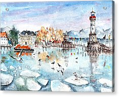 Lindau Harbour In Winter Acrylic Print by Miki De Goodaboom