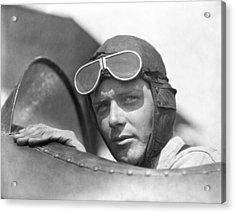 Lindbergh In Cockpit Acrylic Print by Underwood Archives