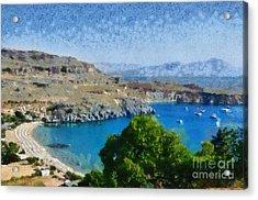 Lindos Beach Acrylic Print by George Atsametakis