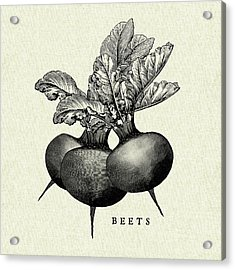 Linen Vegetable Bw Sketch Beets Acrylic Print by Studio Mousseau