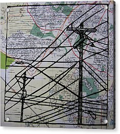 Lines On Map Acrylic Print