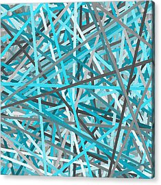 Link - Turquoise And Gray Abstract Acrylic Print by Lourry Legarde