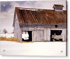 Acrylic Print featuring the painting Lin's Barn by Tom Wooldridge