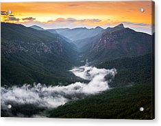 Linville River Of Fog Acrylic Print