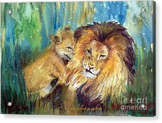 Lion And Cub -2 Acrylic Print
