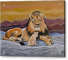 Acrylic Print featuring the painting Lion And Cub by Phyllis Kaltenbach