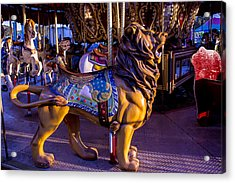 Lion Carrousel  Acrylic Print by Garry Gay