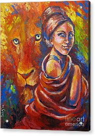 Lion Covering Acrylic Print by Tamer and Cindy Elsharouni