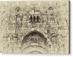 Lion Gate Jerusalem Old City Israel Acrylic Print by Mark Fuller