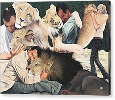 Lion Hugs Acrylic Print