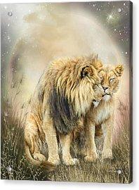Lion Kiss Acrylic Print by Carol Cavalaris
