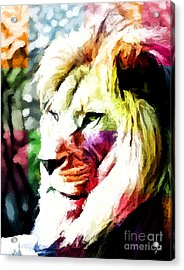 Acrylic Print featuring the painting Lion - Leone by Ze  Di
