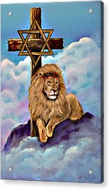 Lion Of Judah At The Cross Acrylic Print by Bob and Nadine Johnston