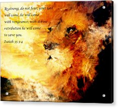 Lion Of Judah Courage  Acrylic Print